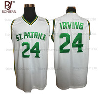 BONJEAN Cheap Kyrie Irving 24 St Patrick High School White Basketball Jersey Throwback Sewn Shirt Any