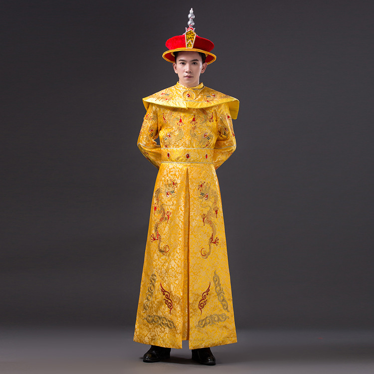 Dragon Robe +hat Chinese Emperor Costume for Stage High Quality Men Chinese Traditional Prince Tang Dynasty Clothing Ancient 89 black and coffee 2 colors hair tiara ancient chinese emperor or prince costume hair crown piece cosplay use for kids little boy