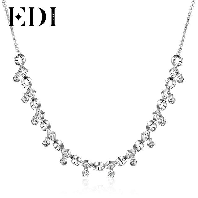 c0f5bf9501ea € 88.43 |EDI plata gargantilla Collar para las mujeres 925 plata esterlina  0.78 cttw blanco Topacio piedra preciosa cristal 38 cm cadena borla ...