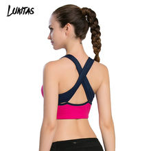 LUKITAS Women Fitness Sexy Straps Quick Dry Breathable Elastic Yoga Jogging Gym Exercise Cross Straps Removable Pad Sports Bra