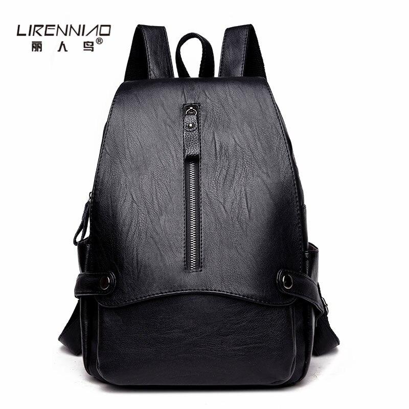 LIRENNIAO Black Leather Backpack Women Solid Preppy Style School Bags For Girls mochila mujer Softback Travel