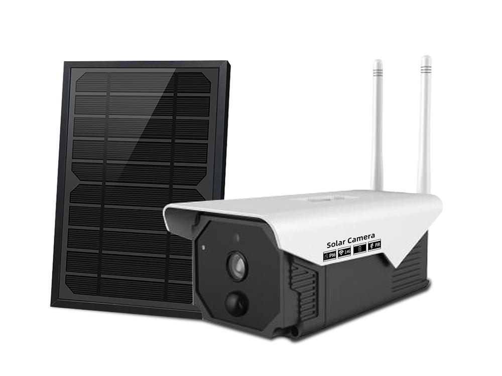 Inteligente sem fio wi fi caixa de placa solar câmera hd 2.0mp ir visão noturna movimento detectar remoto à prova dremote água ao vivo monitor segurança
