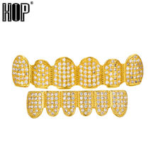 Hip Hop Shiny Bling Full Iced Out AAA Cubic Zircon Crystal Teeth Grill Gold Silver Fang Top & Bottom Grill Set Dropshipping(China)