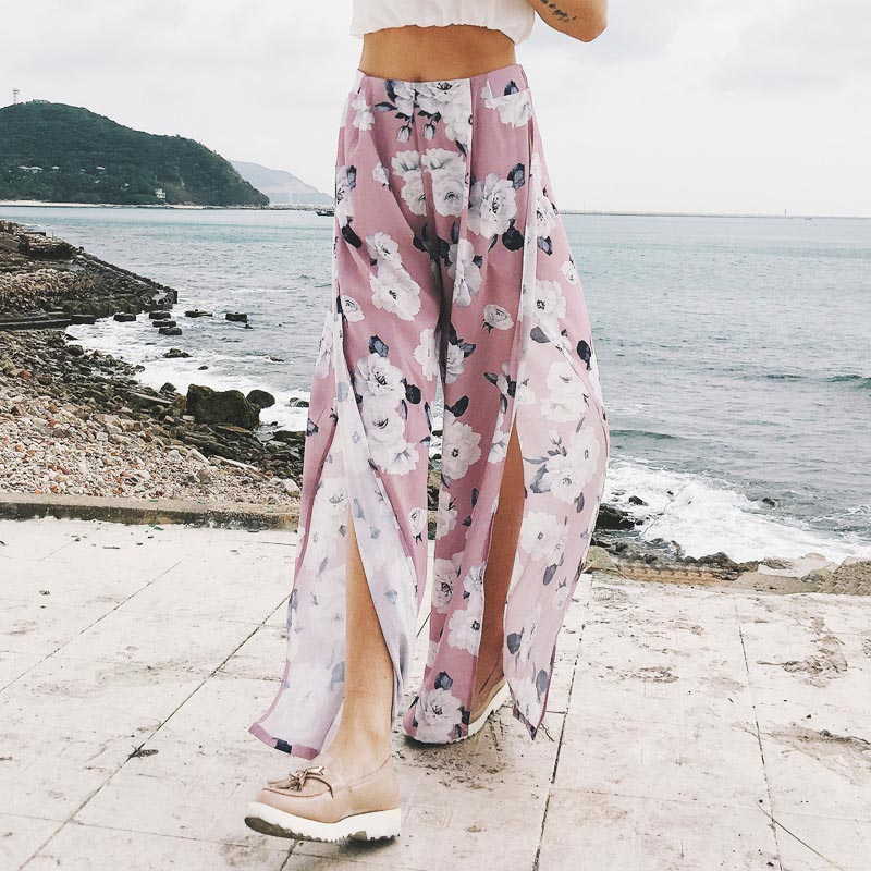 Summer Women   Wide     Leg     Pants   Floral Printed Split Elastic High Waist Comfy Casual Trousers FS99