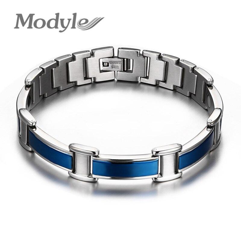 Healthy good for body men magnetic bracelets & bangles stainless steel body care blue bracelet men for friendship gift