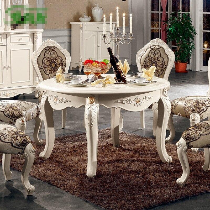 Terbaru Grosir Eropa Gaya Klasik Perancis Set Ruang Makan Meja Furniture Dan Kursi L801
