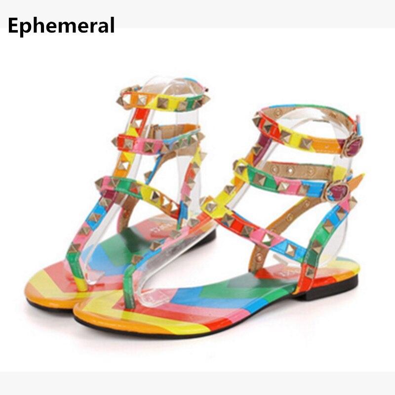 Women colorful shoes with buckle flat sandals rivets summer sandalia feminina open toe fashion flats super larger size 12 14 13