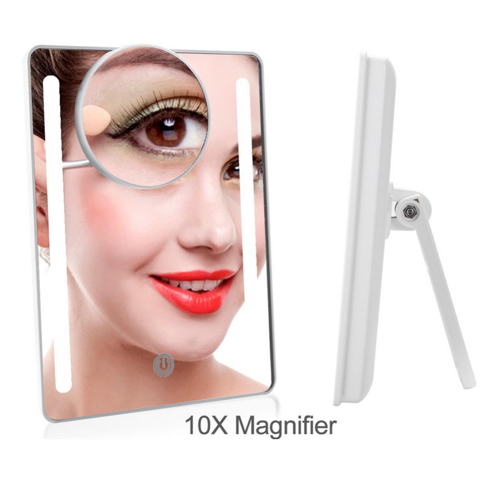 Schminkspiegel Led Touchscreen Make-up Spiegel 4 In 1 Klapp Desktop Spiegel Lichter 1x 2x 3x 10x Vergrößerungs Spiegel Usb Lampe Schönheit Bilden Werkzeug
