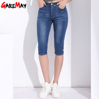 Denim High Waist Jeans Women Shorts Knee Length Woman Skinny Plus Size Feminino Capris Jeans Femme
