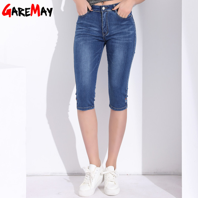 d47beb02e14 High Waist Jeans Women Plus Size Knee Length Skinny Denim Capri Summer Mom Women s  Jeans Woman 2018 Short Denim Jean Pants