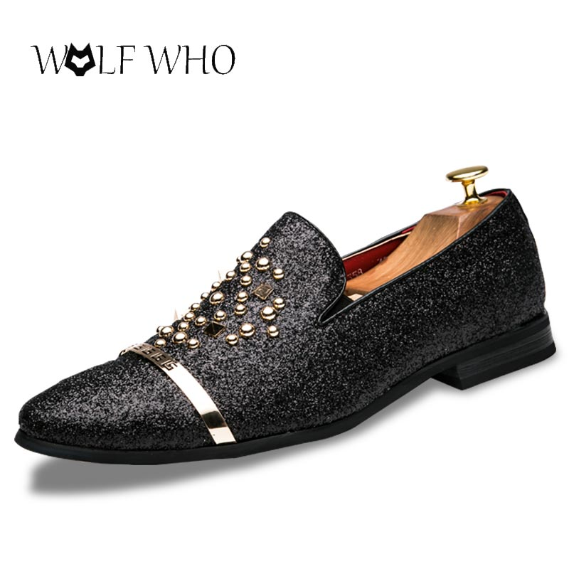 WolfWho New Men Shoes Soft Microfiber Leather Shoes Slip-on Moccasins Boat Loafers Driving Flats Nightclub Sequins Smoking Shoes new arrial handmade genuine leather men flats driving soft leather men moccasins men shoes loafers slip on casual shoes