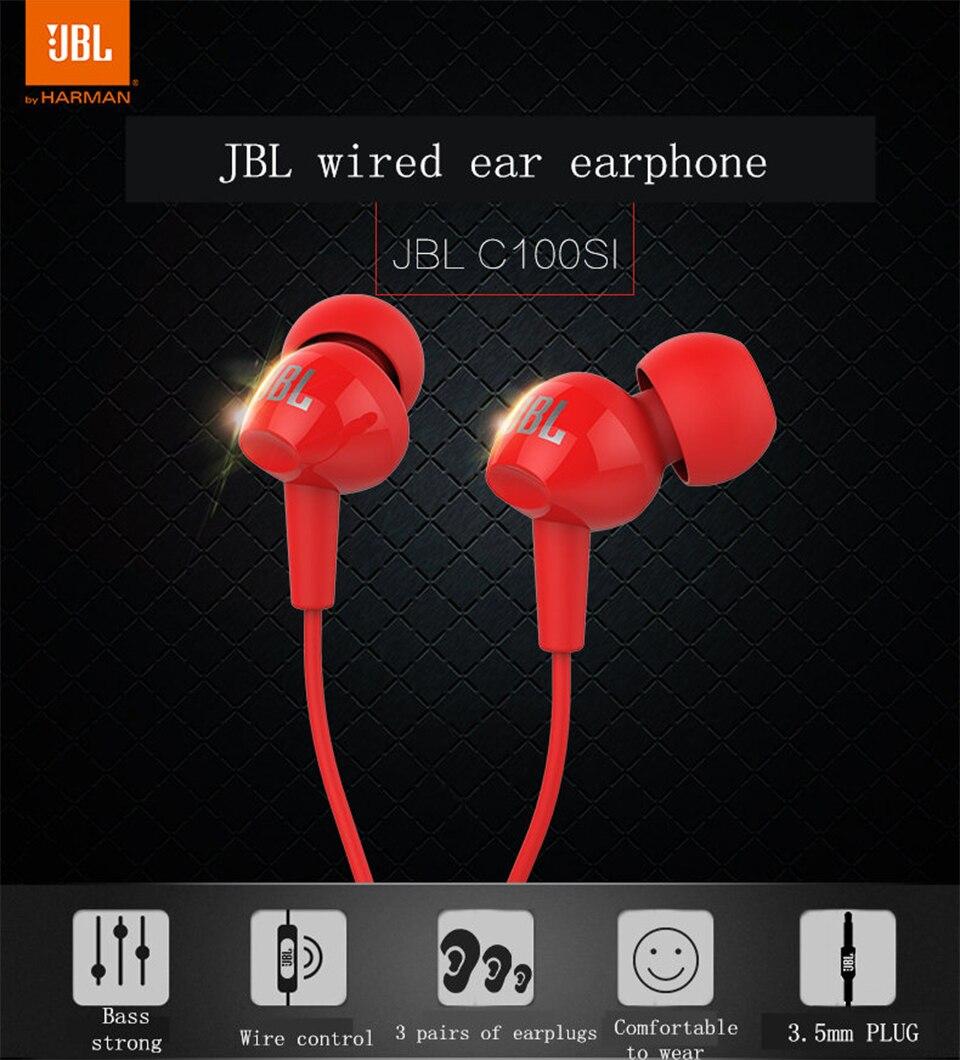 Jbl c100si 3.5mm com fio fones de