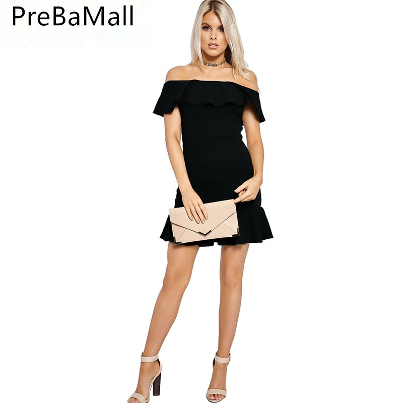 2019 Summer Casual Evening Party Short Dress Women 39 s Slash Neck Elegant Dress Ruffles Sleeve Vestidos Beach Dress C13 in Dresses from Women 39 s Clothing