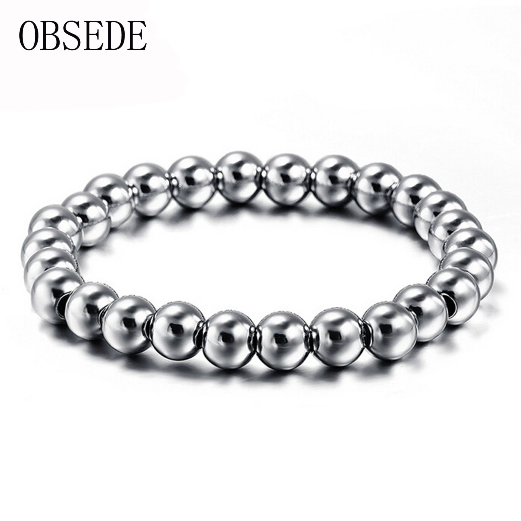 Obsede Punk Charm Beads Bracelet For Men Silver Color Stainless Steel  Bracelets Fashion Wristband Unique Jewelry