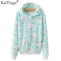 KaiTingu Brand Kawaii Sheep Panda Print Hoodies Women Autumn Autumn Long Sleeve Sweatshirt Harajuku Tracksuit Jumper