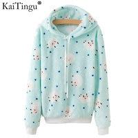 KaiTingu Brand Kawaii Sheep Panda Print Hoodies Women Autumn Autumn Long Sleeve Sweatshirt Harajuku Tracksuit Jumper