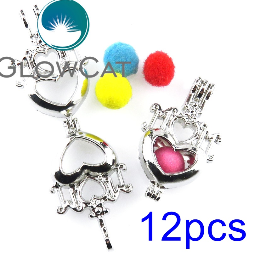 GLOWCAT 12x R-K562 Mom Heart Maternal Love Beads Cage Pendant Essential Oil Diffuser Oyster Pearl Cage Locket