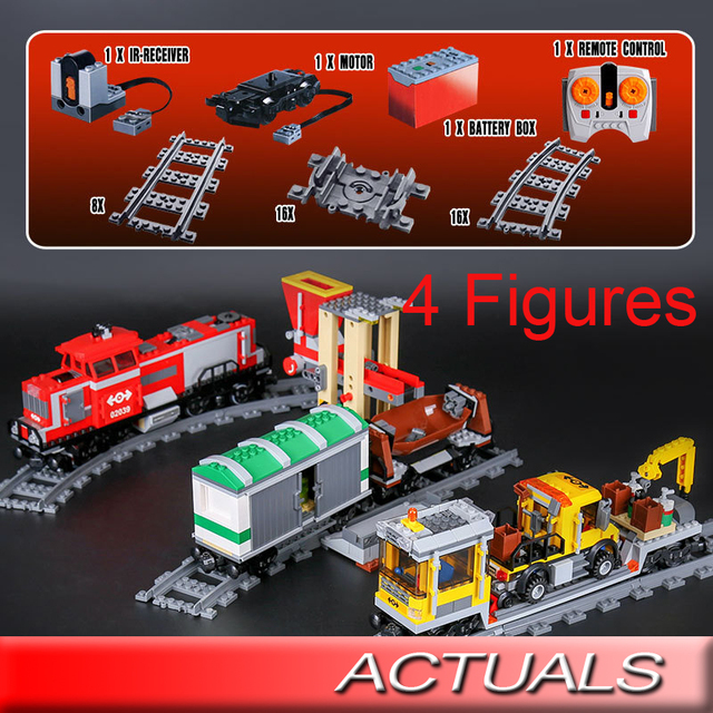 Lepin 02039 City Trains Red Cargo Train Building Blocks With Motors