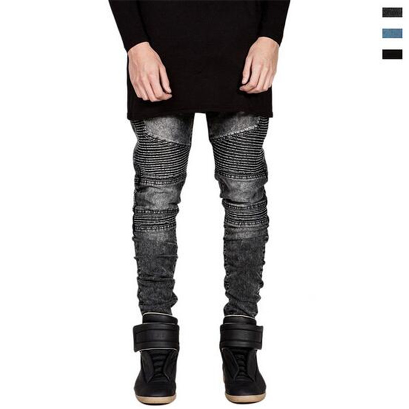 ФОТО New Justin Bieber Jeans Hole Ripped Joggers Pencil Slim Jean Homme Casual Jeans Runway Denim Pants Motorcycle Jogger Hot   A2989