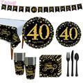 Бумажные тарелки Taoup 40-го стандарта, баннеры, скатерть, полотенца, украшения для дня рождения, для взрослых и родителей