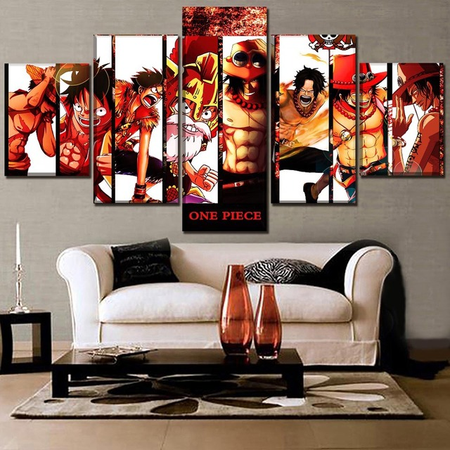 Wall Art Pictures Hd Prints 5 Pieces Animation One Piece Poster Home Canvas Paintings Modular Framework Living Room