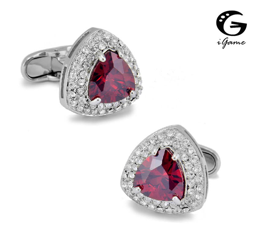 Free Shipping Crystal Cufflinks 3 Colors Option Black Blue Red Top Quality Stone Design Hotsale Wedding Cuff Links