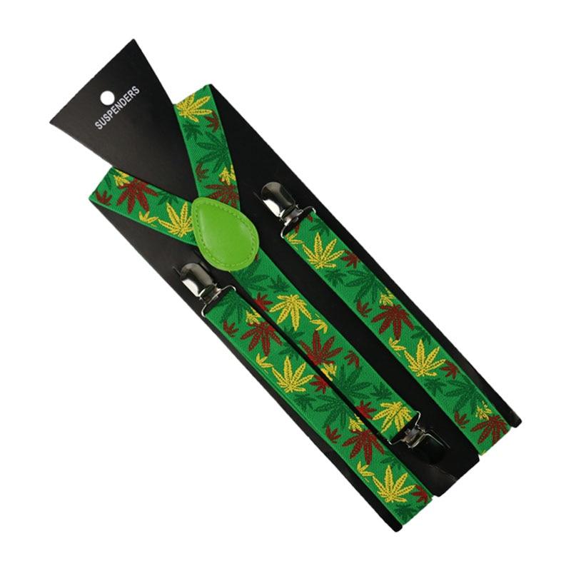 Winfox 2.5cm Wide Green Weed Pattern Suspender Unisex Clip-on Braces Elastic Slim Suspender Y-Back Braces