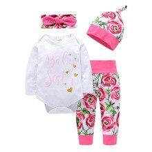 1set/lot   Child Woman Garments set ladies Outfit cotton Jumpsuit Bodysuit Floral Pants clothes Set pants and headband bow