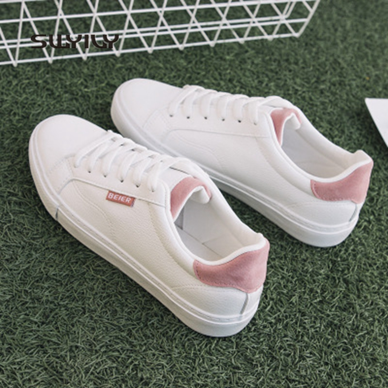 SWYIVY Sneakers Women Skateboarding Shoes White PU Lady Shoes 2018 Spring  And Autumn Flat Heel Lace up Female Skateboard Shoes-in Skateboarding from  Sports ... 07e023661668