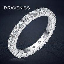 BRAVKIS classic cz pave eternity rings wedding bands women damen silberringe anillos bijoux ringen voor vrouwen jewelry BUR0357