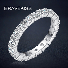 BRAVEKISS round crystal eternity band rings for women cubic zircon wedding bands engagement jewelry anillos bijoux BUR0357