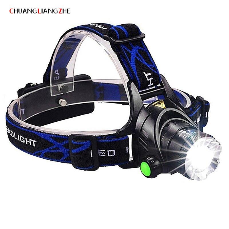 CHUANGLIANGZHE Led-scheinwerfer T6 Zoom Wasserdichte Taschenlampe Kopf Luminaria Kopf Taschenlampe Camping Scheinwerfer 18650 Batterie