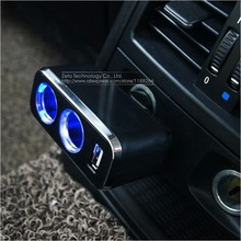 Triple 1 to 2 Socket + USB Power Supply Car Charger with Blue Lights