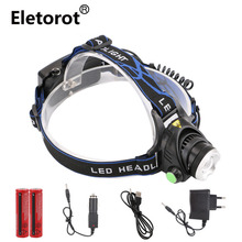 Lowest Price ! Waterproof led headlamp Cree XML T6 rechargeable 3Modes headlight frontal head lamp For camping fishing outdoor