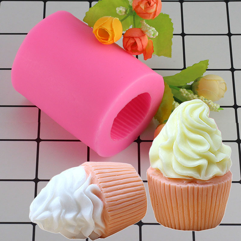 Mujiang 3D Cupcake Shape Soap Silicone Molds Candle Fimo Clay Mold Fondant Cake Decorating Tools Ice Cream Candy Chocolate Mould