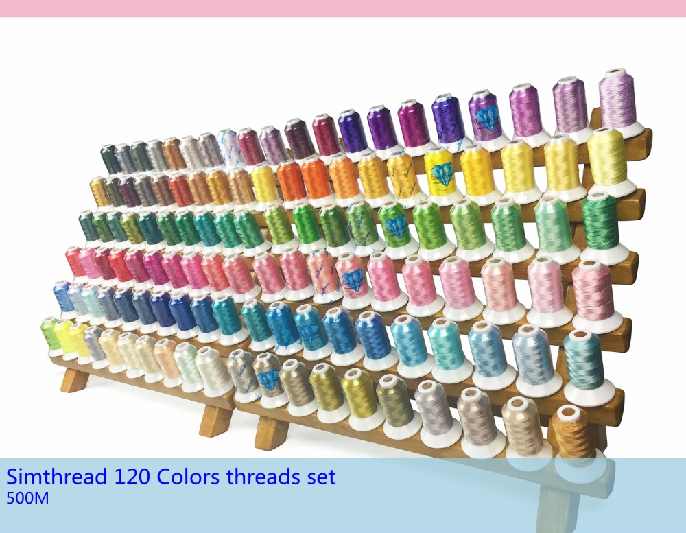 Brand new Simthread 120 assorted colours 100 polyester embroidery sewing machine thread 500 meters each