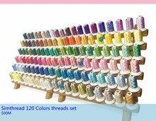 Marka yeni Simthread 120 çeşitli renkler % 100% polyester nakış DİKİŞ MAKİNESİ ipliği 500 metre her