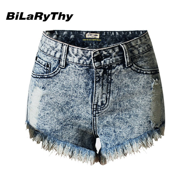 BiLaRyThy Hot Sale Fashion Women Snow Washed Denim Shorts Feminino Plus Size Ripped Hole Tassel Summer Short Jeans