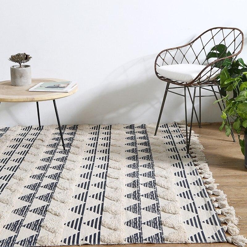 Простой стиль утолщаются хлопка ручной работы прикроватные ковер, гостиной, журнальный столик, ковер, большие размеры Nordic украшения земле к...