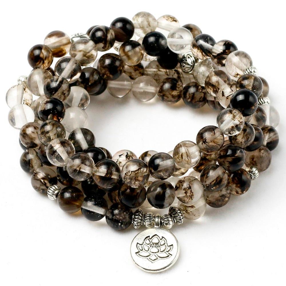 Black Watermelon Rind Stone Mala Necklace & Bracelets For Men Yoga Bracelet Lotus 108 Beads Bracelet Women Jewelry