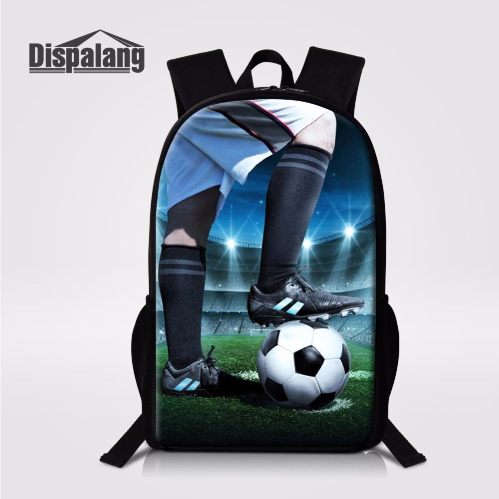 Footballs Printing School Bag For Boys Basketballs Backpack 16 Inch Soccers Bookbags For ...