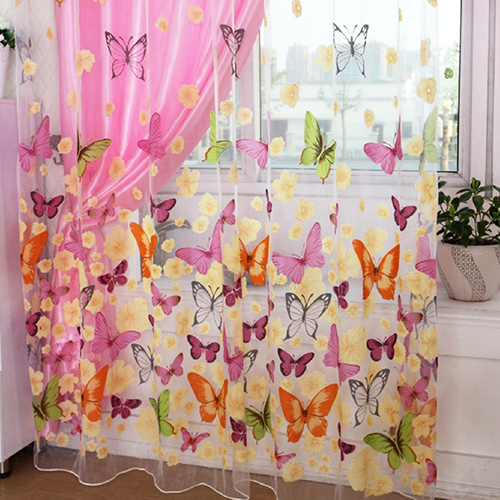 Butterfly Printed Tulle Voile Door Window Balcony Curtains for Living Room