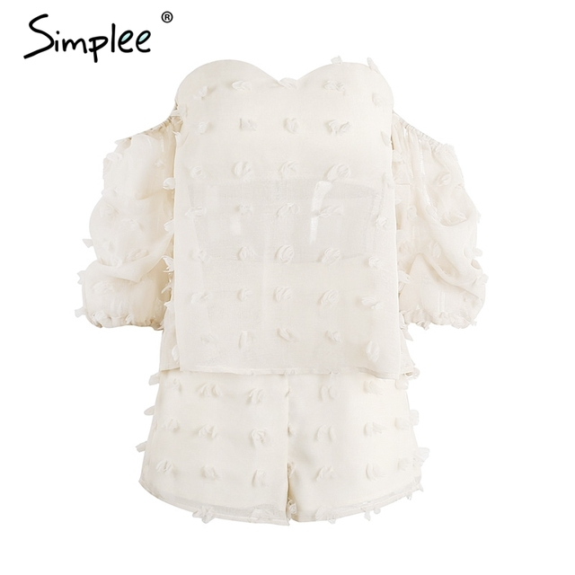 Simplee Chic ruched sleeve 3D flower jumpsuits romper Women summer off shoulder backless overalls Two-piece playsuit leotard