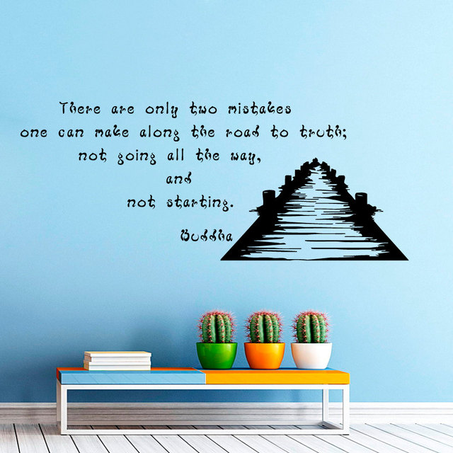 Free Shipping There Are Only Two Mistakes Buddha Quotes Wall Sticker Creative Vinyl Removable Black Home