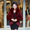 2015 new women's winter fox fur collar  full pelt real rabbit fur coat  female short design long sleeve fur outwear