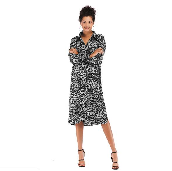 European and American Ladies Fashion Style Long Blouse With Long Sleeves Leopard Print Turn Down Collar Women Spring Dress M-XL