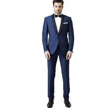 Custom Made Mens suit Prom Party Suit Groomsmen Best Man Suit for Wedding Jacket+Pants Groom Tuxedo with Black Shawl Lapel