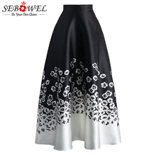 SEBOWEL Elegant Vintage Floral Print Loose Long Skirt Women High Waist Summer Maxi Skirt Casual 2017 a Line Midi Women Skirt цена