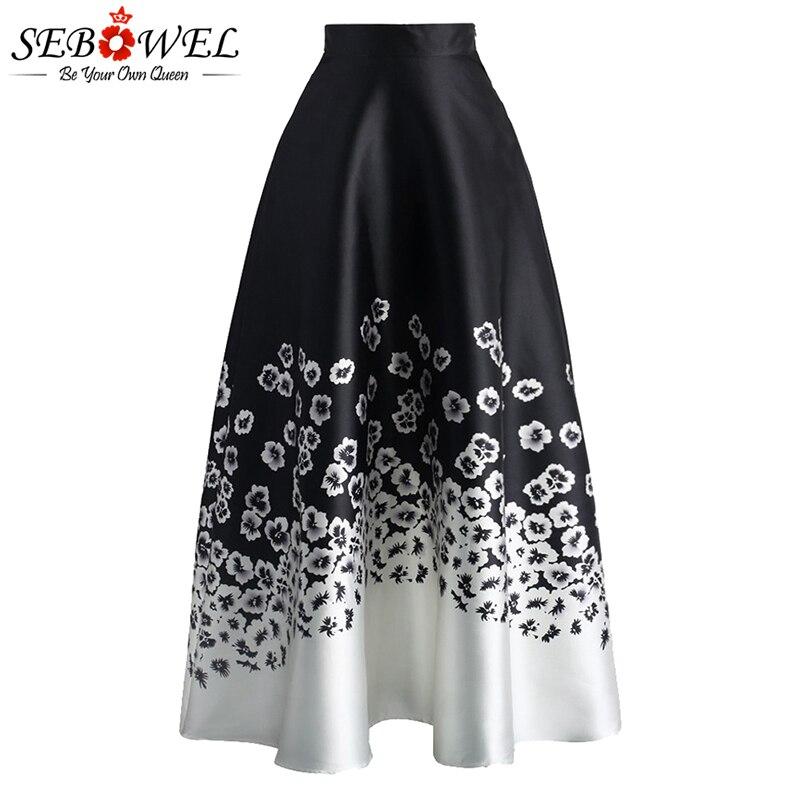 2e943dadec SEBOWEL Vintage Floral impresión Falda larga las mujeres de cintura alta  elegante blanco y negro flor Maxi falda Casual de Mujer Faldas 2019