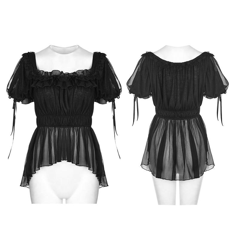À Lolita Manches Top Rave Chemise Lt011 Mode Punk Marque Victorienne D'été Gothique Qualité Courtes q5BtnHp